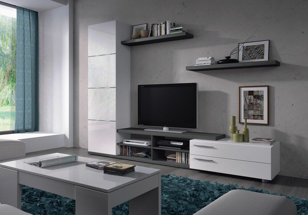 Abriella tv media full wall unit ash grey on white - Couleur de meuble tendance ...