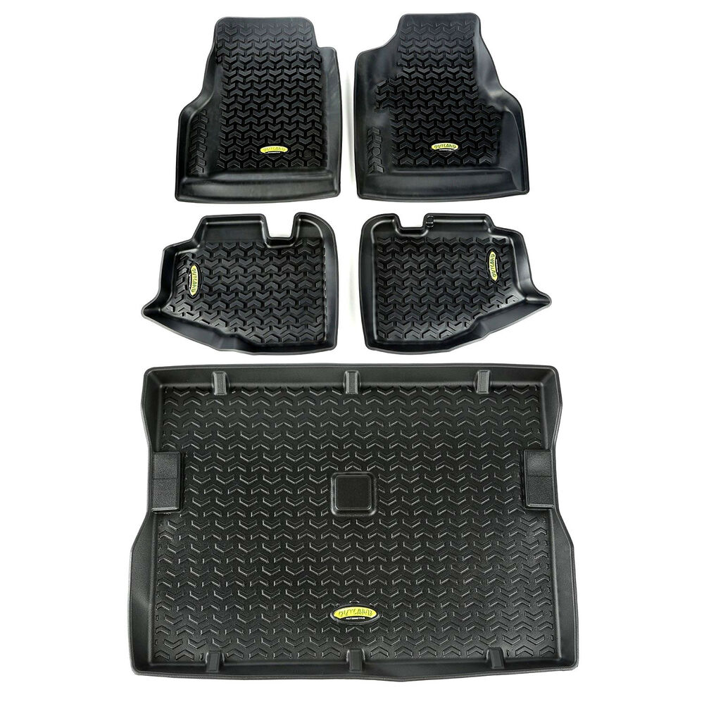 Quadratec Floor Liner Kit With Free Entry Guards For 97 06: Floor Mat Liners Kit Black For Jeep Wrangler TJ 1997-2006