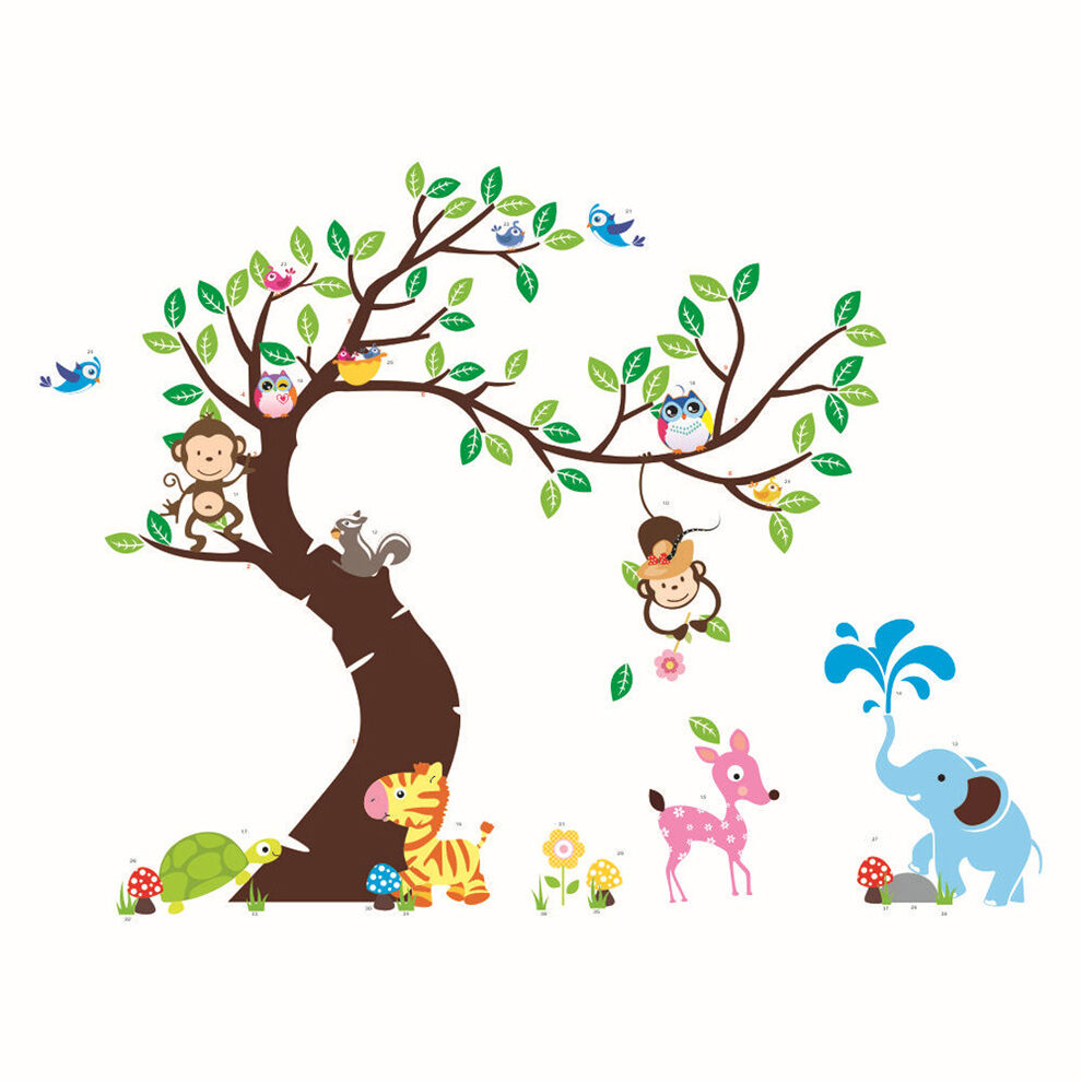 1PC Animals Tree Monkey Owl Vinyl Removable Wall Decal ...
