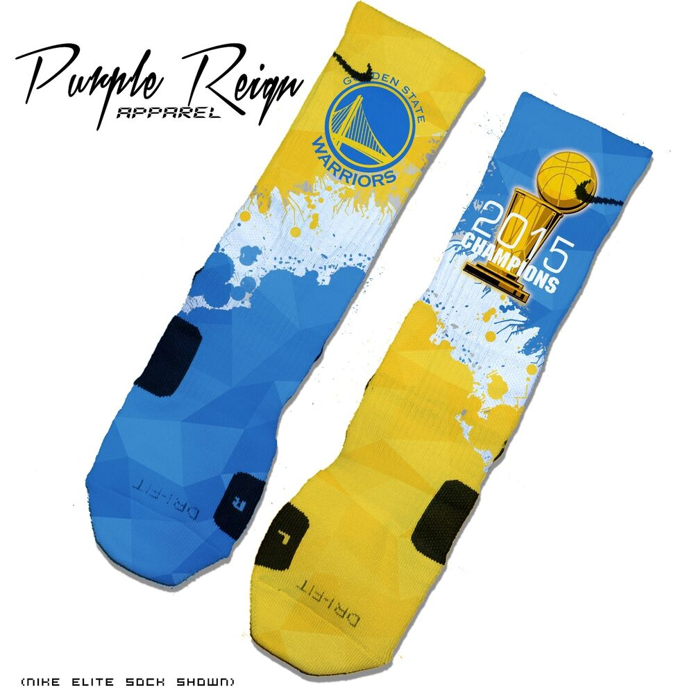 "Details about   GOLDEN STATE WARRIORS ""2015 CHAMPIONS"" Custom NIKE ELITE Socks (NBA Finals"