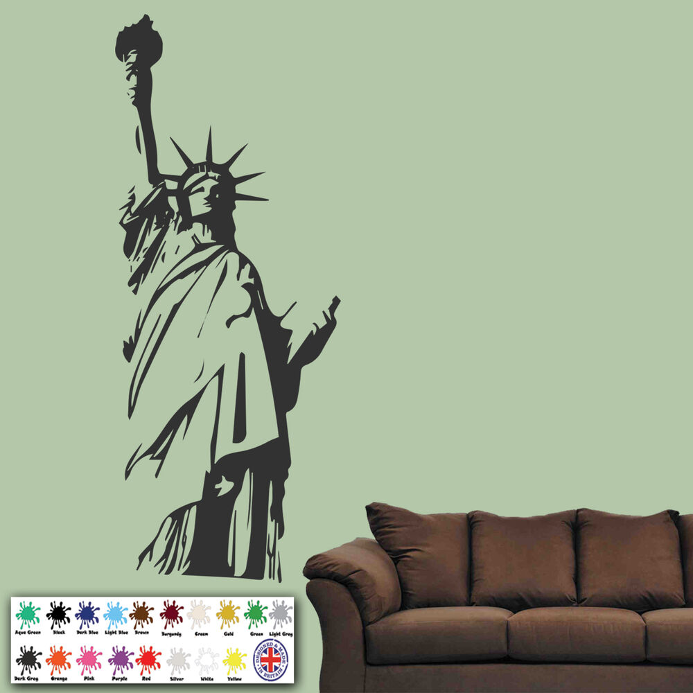 Statue of liberty outline new york wall stickers wall art for Sticker mural new york