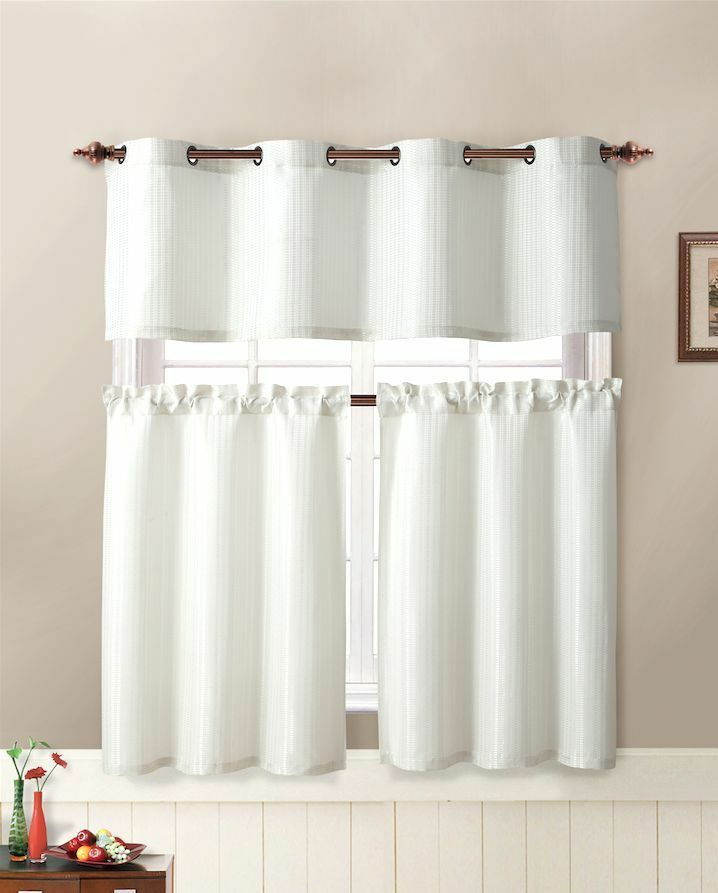 VCNY Tyra Textured 3 Pc. Kitchen Curtain Tier & Valance