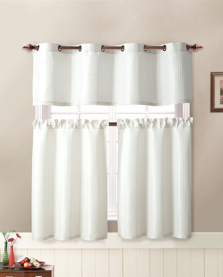 Blackout Kitchen Curtains Polyester Valance Tiers 3: VCNY Tyra Textured 3 Pc. Kitchen Curtain Tier & Valance
