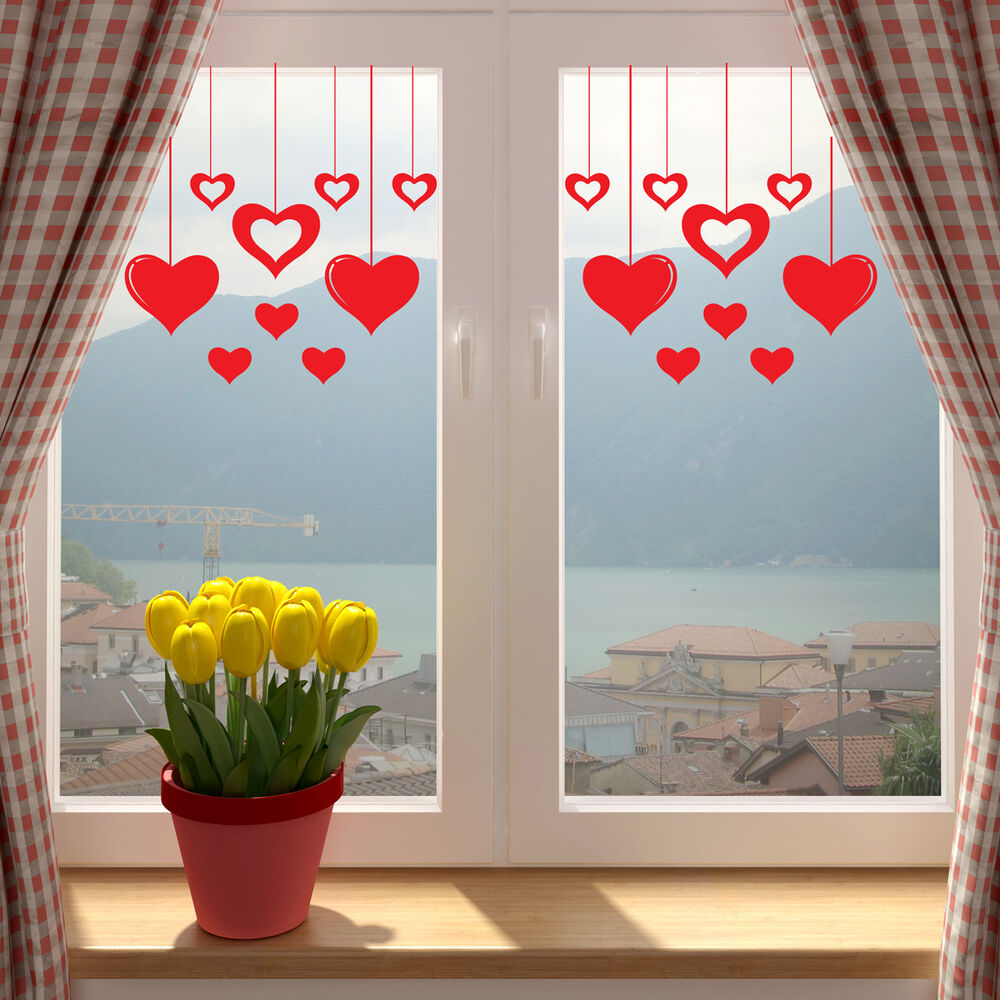 Window Hanging Decorations: Valentines Love Hearts Shop Window Wall Sticker V2 Decal