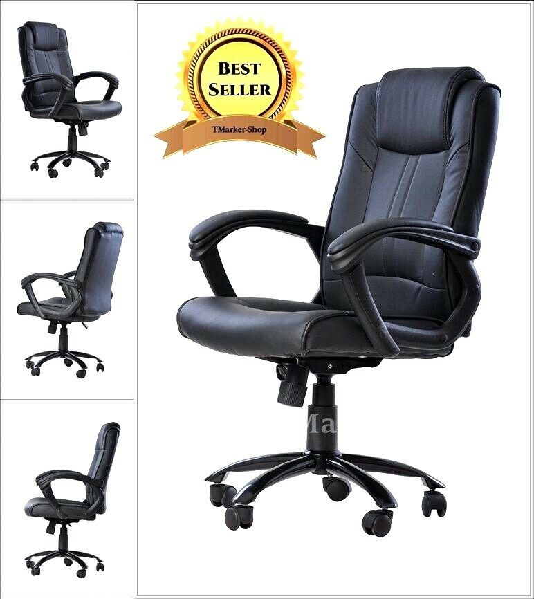 Boss Manager Executive Chair Office Leather High Back Black Desk Conference R