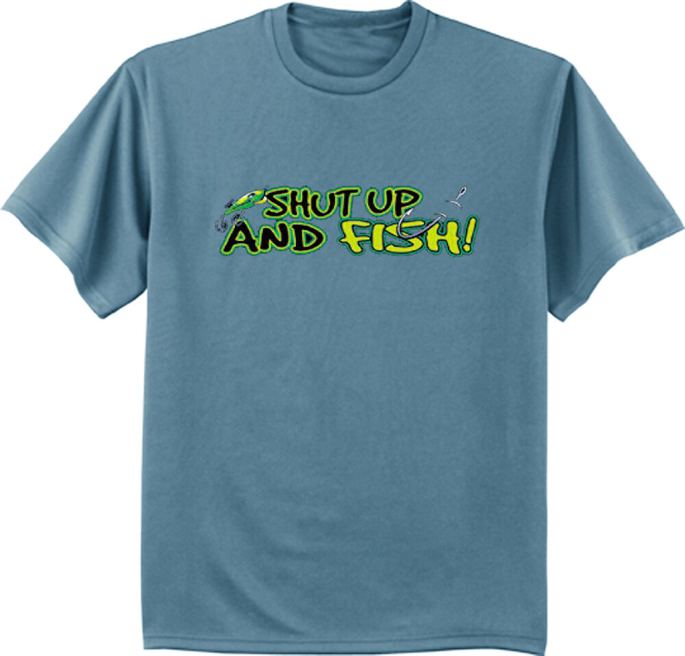 Shut up and fish funny fishing tee shirt bass fishing for Bass fishing shirt
