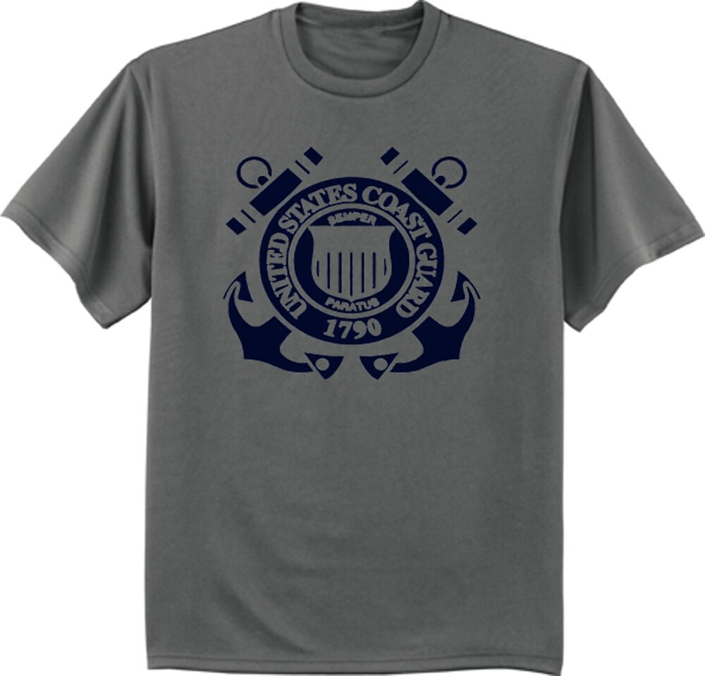 Us Coast Guard T Shirt Navy Blue On Gray Tee Shirt Men 39 S