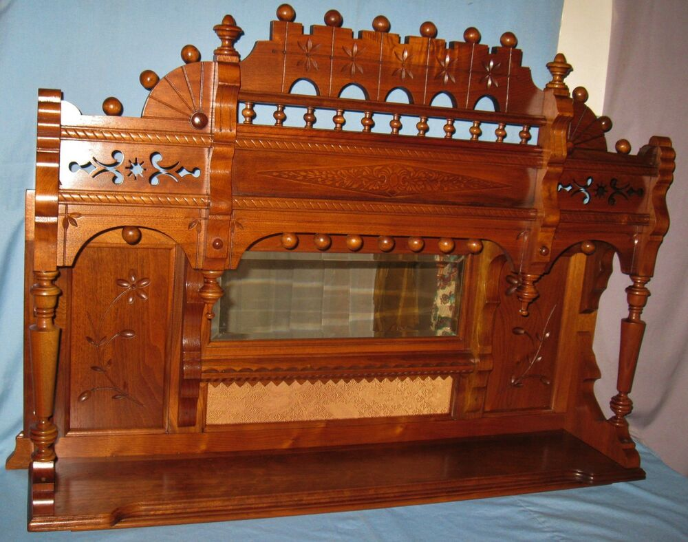 Antique Walnut Carved Backbar Fireplace Mantle Table