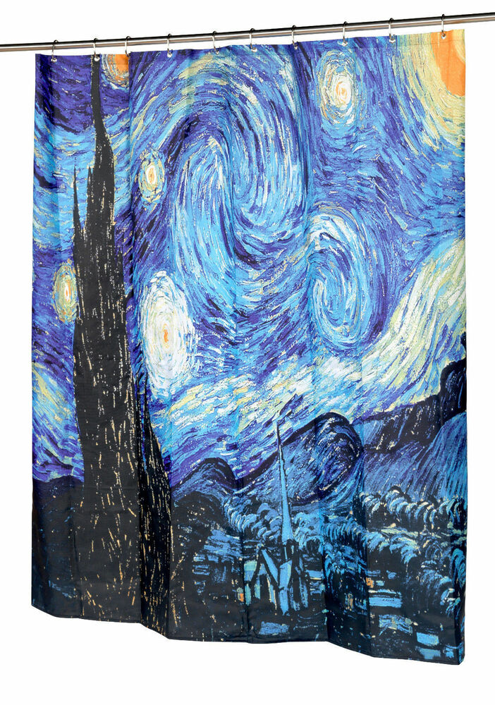 The Starry Night Fabric Shower Curtain By Vincent Van Gogh EBay