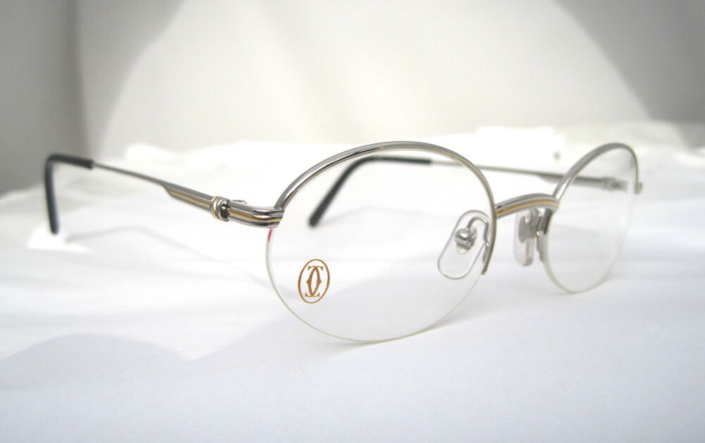 Cartier Eyeglasses Frames Mens : Cartier Eyeglasses Glasses Oval Platinum T8100370 Semi ...
