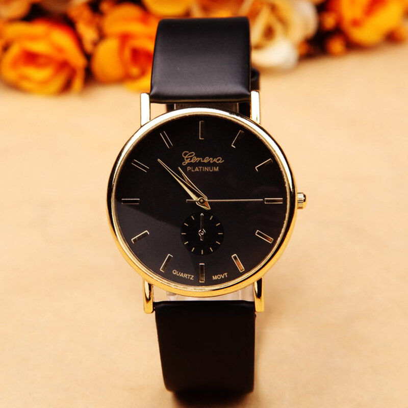 Geneva mens watches women 39 s leather stylish dress quartz black wrist watch box ebay for Watches geneva