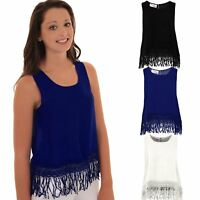 Ladies Floral Lace Crochet Tassel Fringe Bottom Semi Sheer Baggy Oversized Top
