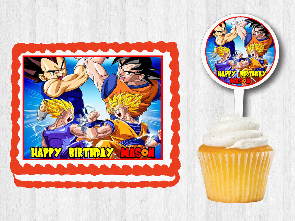 Dragon ball z edible birthday party cake cupcake toppers for Dragon ball z decorations