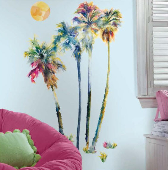 Palm Trees Colorful Wall Stickers Mural 14 Decals Room