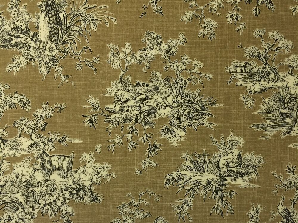 Waverly sunnyfield toile black sand beige rooster animal for By the yard fabric