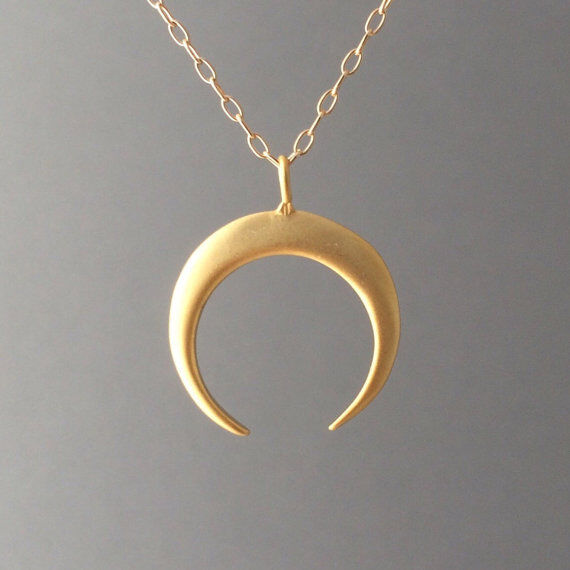 Crescent Horn Necklace: Gold Double Horn Pendant Charm Necklace Also Available In