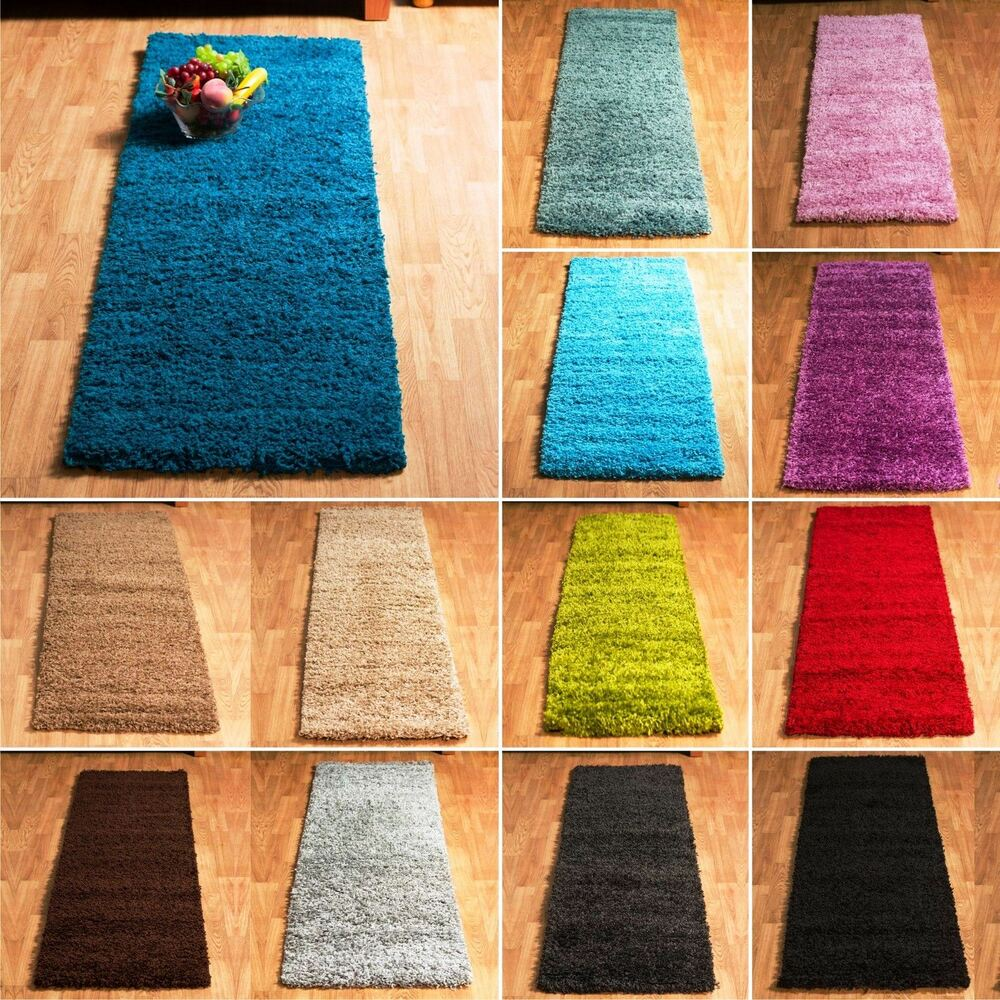 5cm thick pile soft plain modern shaggy runner non shed for Contemporary runner rugs for hallway