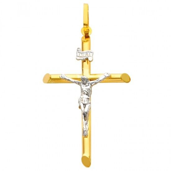 14k Gold Crucifix Necklace: 14k 2 Two Tone Solid Yellow White Gold Cross Jesus