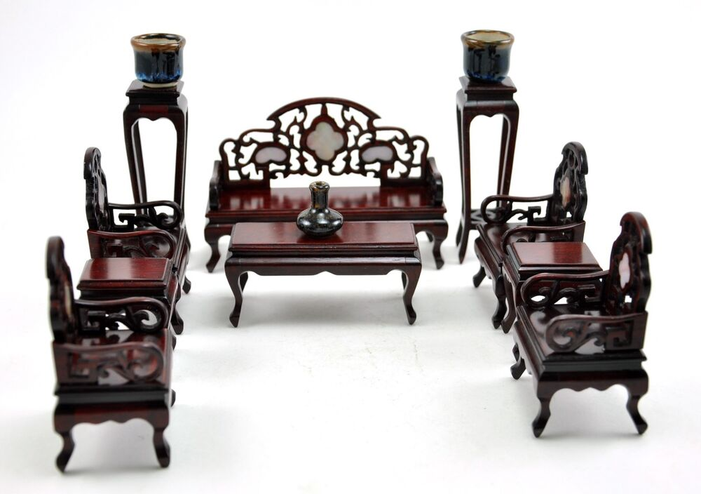 Vintage Chinese Rosewood Chair Inlaid Miniature Doll