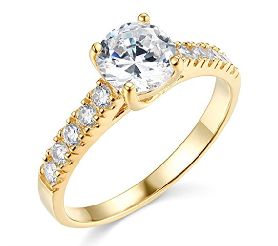 1 75 Ct Round Cut Engagement Wedding Promise Ring Trellis Solid 14K Yellow Go