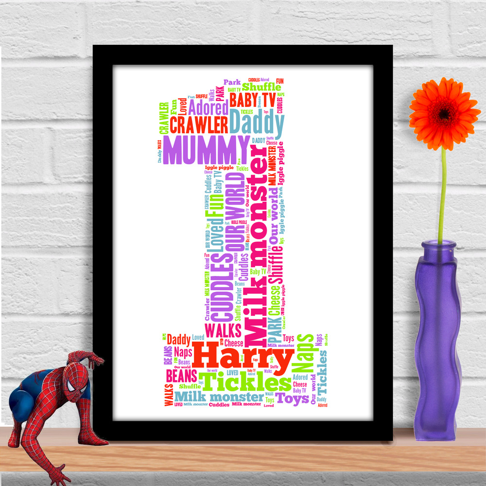 Details About Personalised 1st First Birthday Gift Baby Girl Or Boy Word Art Print YOUR WORDS