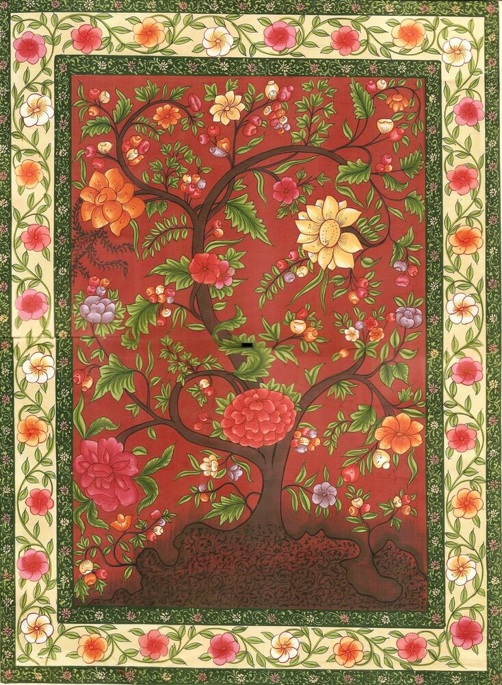 Mughal Miniature Floral Painting Handmade Moghul Indian