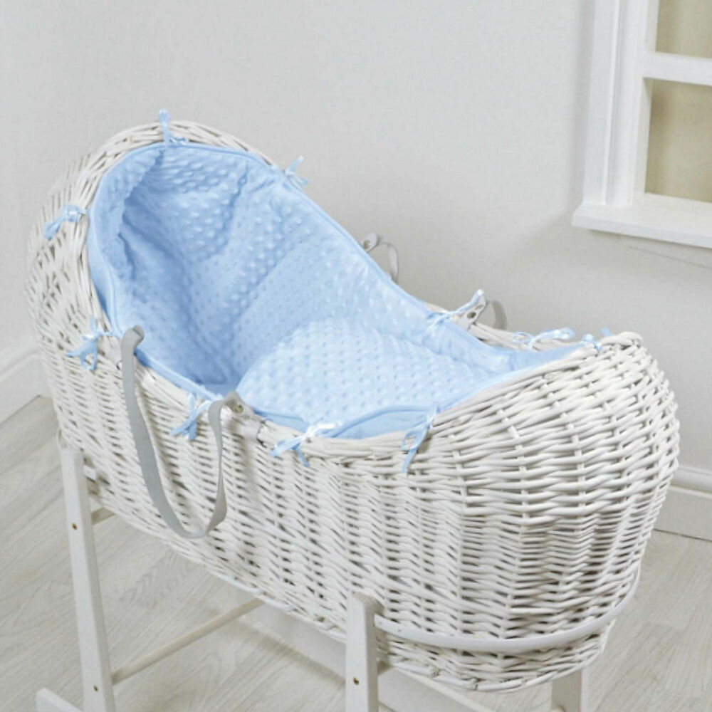 NEW 4BABY BLUE DIMPLE WHITE WICKER BABY MOSES BASKET ...