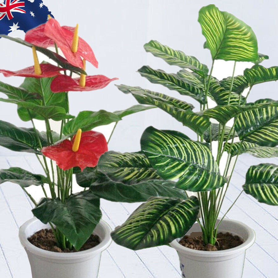 Artificial Plants Rohdea Leaves Fake Home Decor Flowers Foliage Hvpot 19 Ebay
