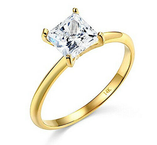 1 30 Ct Princess Solitaire Engagement Wedding Ring Real Real 14K Yellow Gold