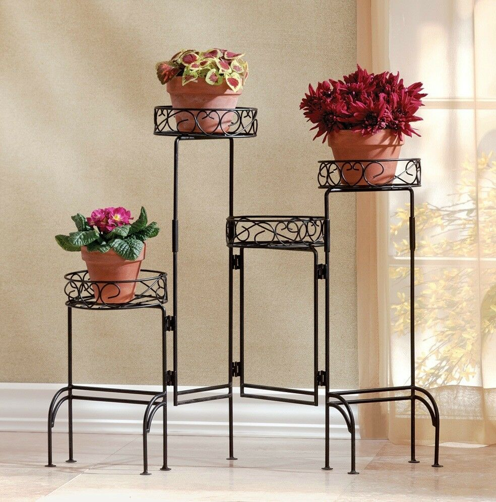 Fold out potted plant display table stand flower pot planter storage holder rack ebay - Flower pot stands metal ...