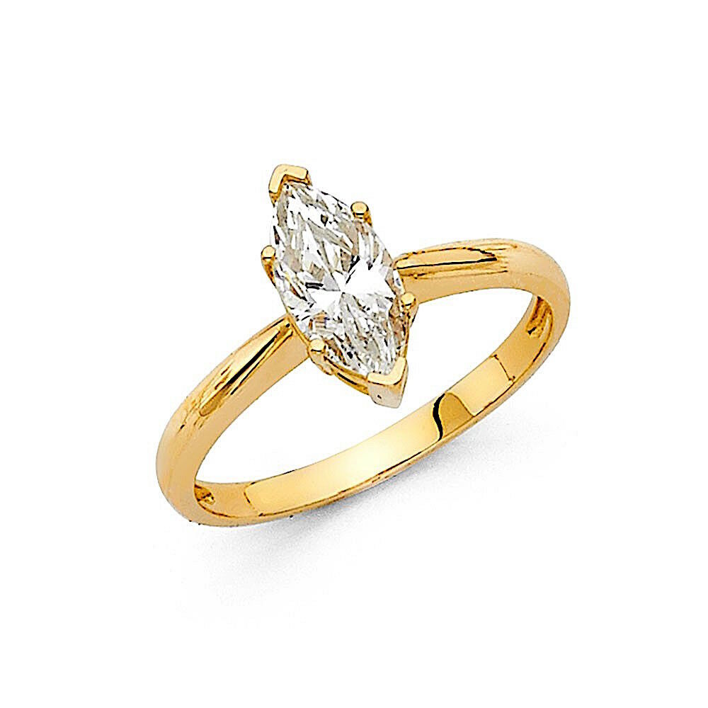 125 Ct Marquise Solitaire Engagement Wedding Promise Ring Solid 14K Yellow Gold