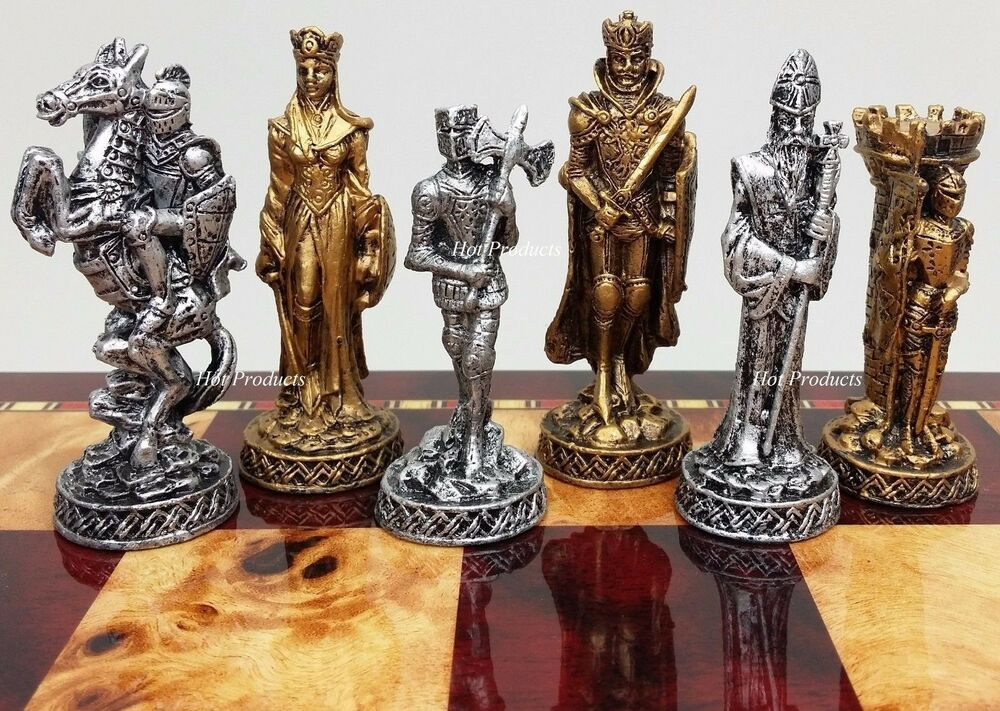 Heavy medieval times pewter metal chess men set antique finish no board ebay - Medieval times chess set ...