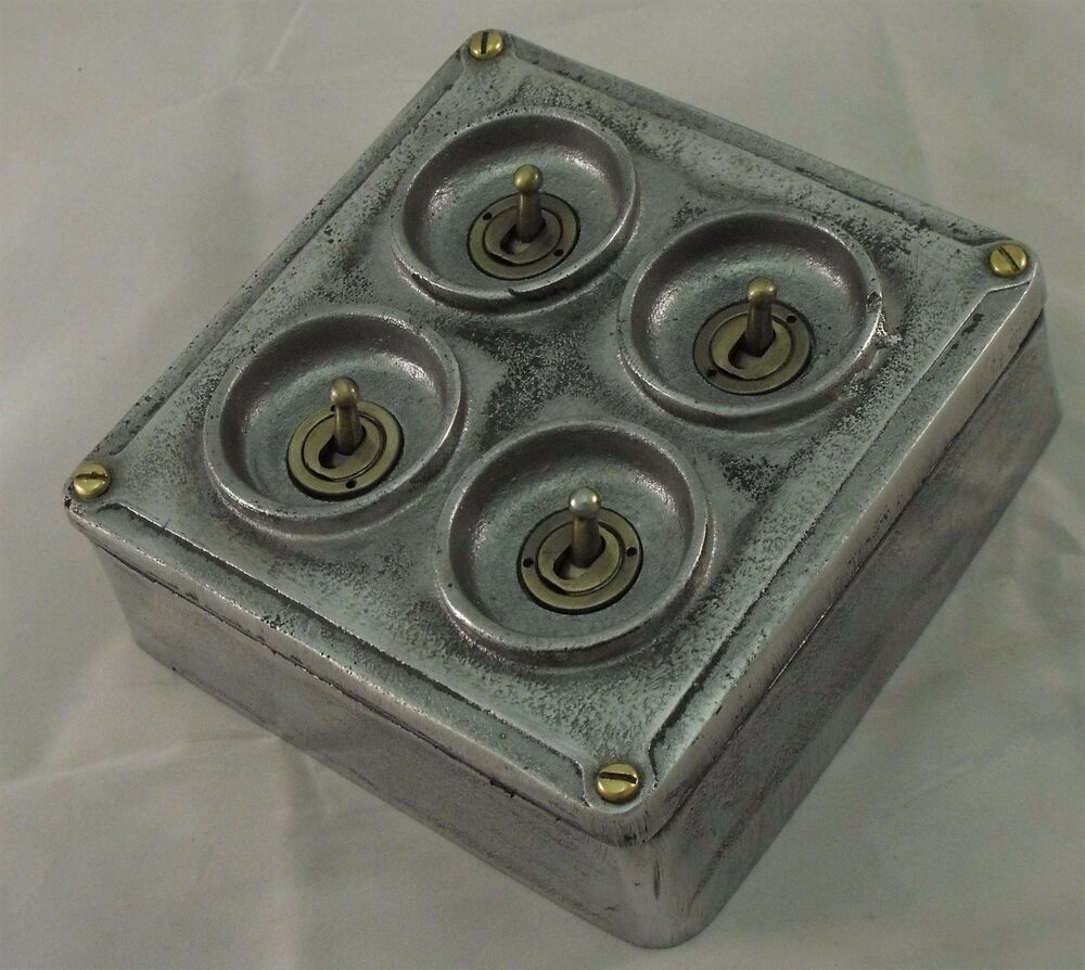 Vintage Industrial Light Switch: NEW Cast Metal Vintage Industrial 4 Gang Light Switch