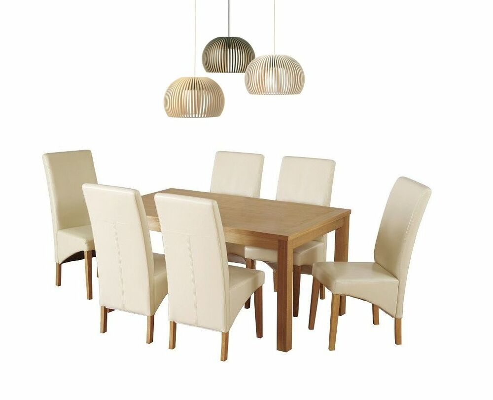 Belgravia solid natural oak dining table and 6 chairs set in cream pu ebay - Natural oak dining table and chairs ...