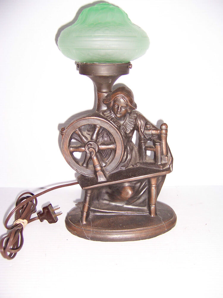 Vintage Art Deco Bronze Figural Table Lamp Of Lady With