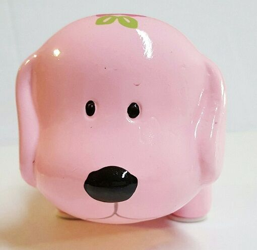 Pink w flowers mini ceramic dog piggy bank large slot for Mini piggy banks