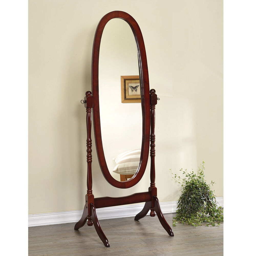 Oval oak floor mirror