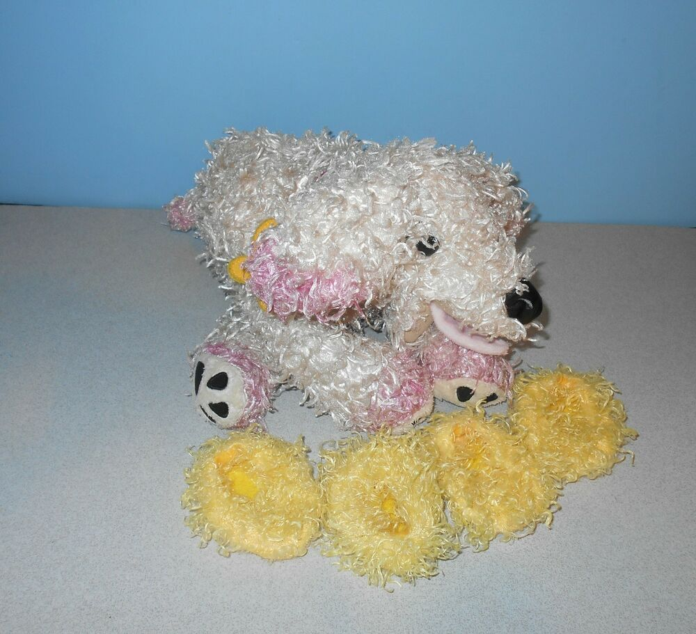 12 fancy nancy pink frenchy frenchie poodle dog bean paws plush w slippers ebay. Black Bedroom Furniture Sets. Home Design Ideas