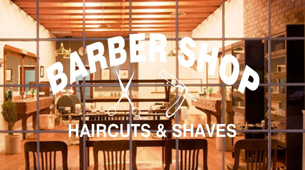 BARBER SHOP SIGN HAIRCUTS SHAVES VINYL DECAL BUSINESS SIGN ...