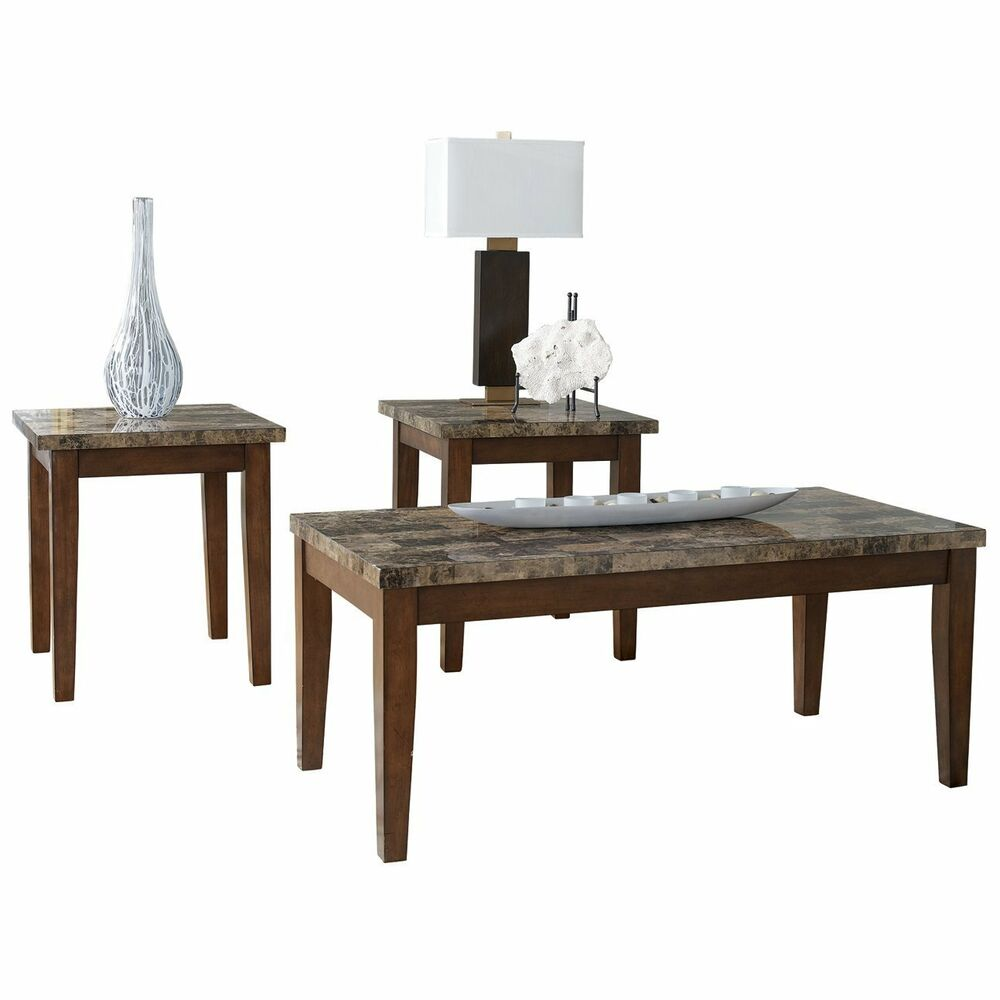 Ashley Mallacar Piece Coffee Table Set In Black T: Ashley Furniture Occasional Table Set (3/CN) Theo Warm