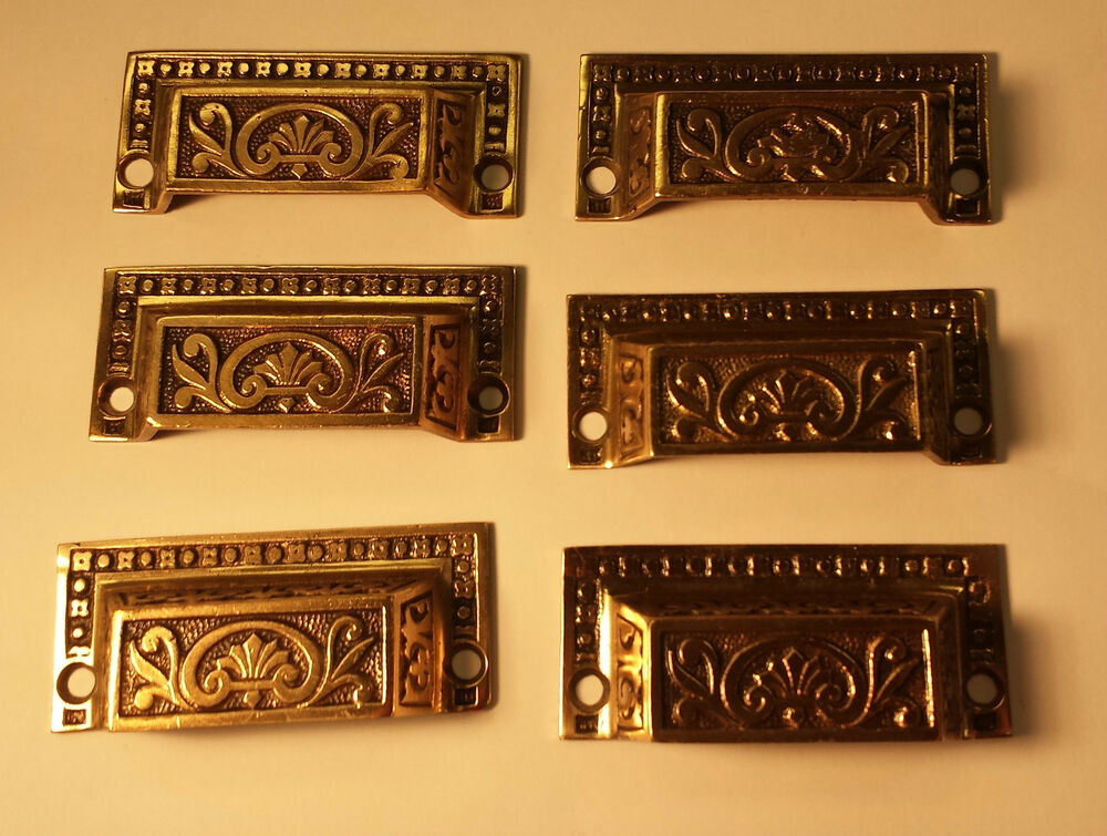 6 vintage brass bronze original drawer pulls handles hardware 100 years ebay. Black Bedroom Furniture Sets. Home Design Ideas