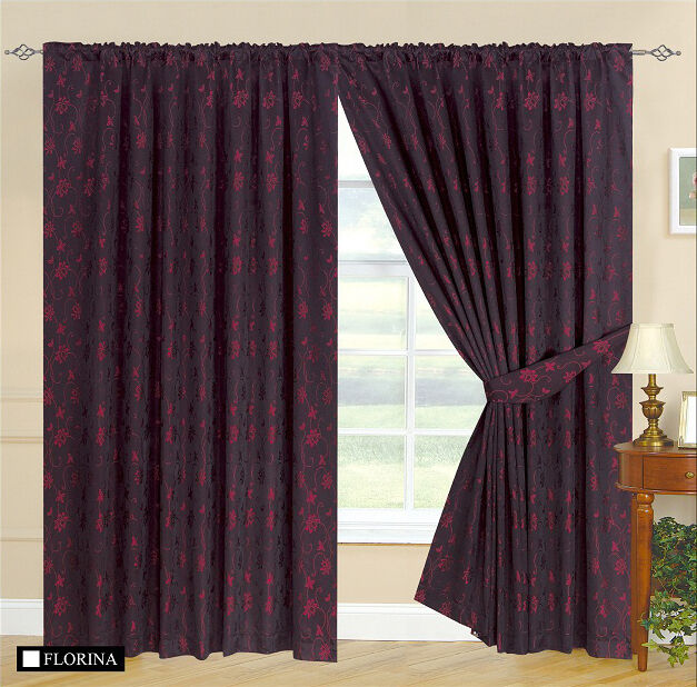 Fully lined 2 tone black burgundy sheen designer jacquard for Style my bedroom