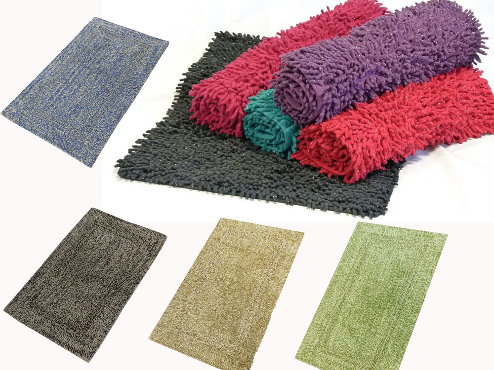 Sparkle Glitter 100 Cotton Shaggy Chenille Loop Bath Mat