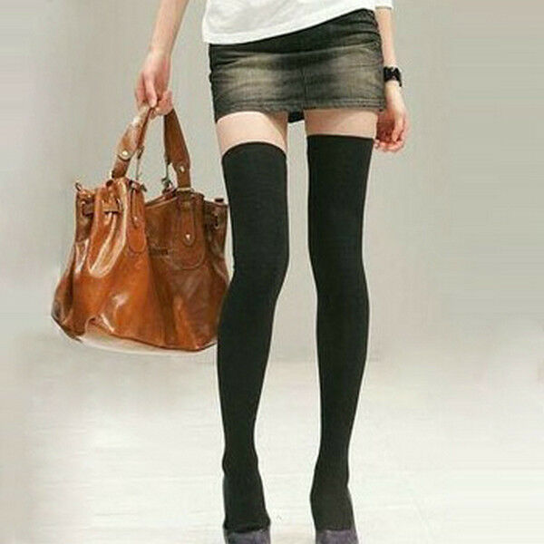 22 Inches Long Japanese Solid Black Thigh High Socks Over