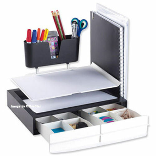 White desk tidy work station organiser office stationery storage rack dac1339 ebay - Desk stationery organiser ...
