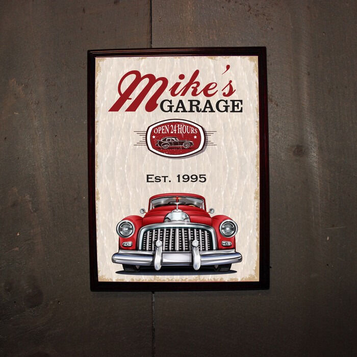 Personalized Garage Signs : Personalized classic car garage wood bar pub wall sign man