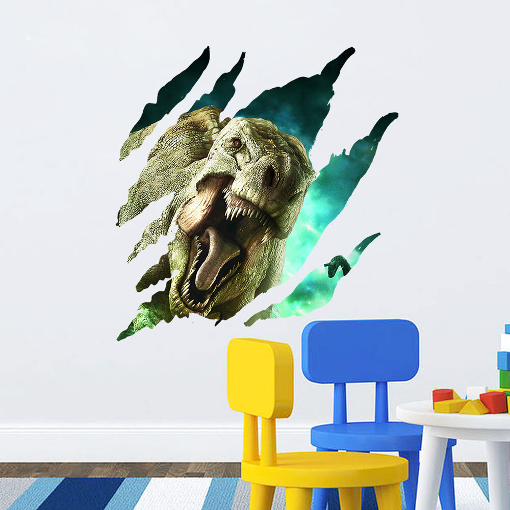 3d dinosaur kids boys room decor creative wall decals pvc for Dinosaur wall mural uk