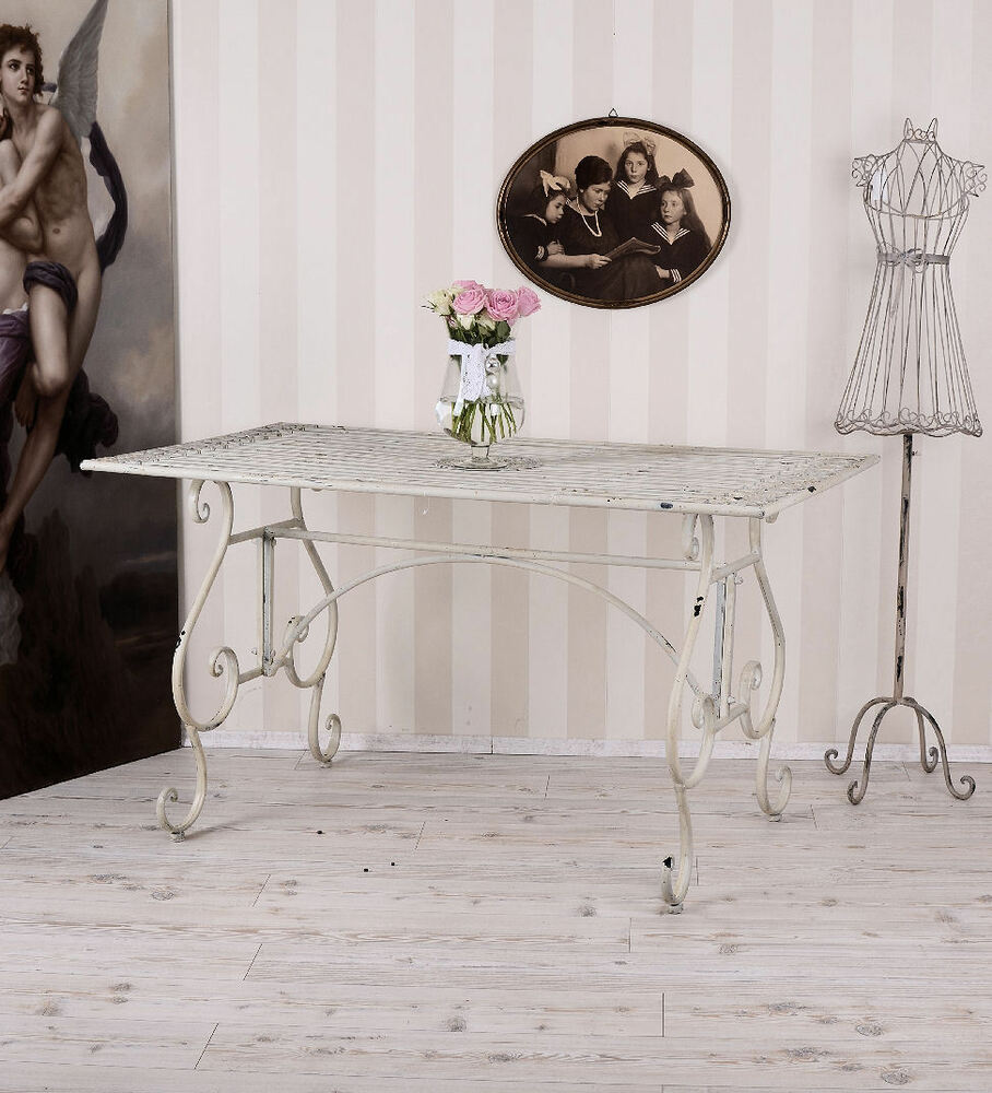 gartentisch vintage weiss metalltisch esstisch gross tisch shabby ebay. Black Bedroom Furniture Sets. Home Design Ideas