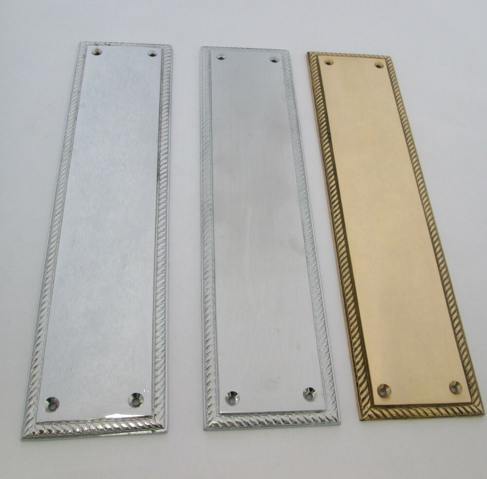 Heavy duty solid cast brass georgian finger plate for Door push plates