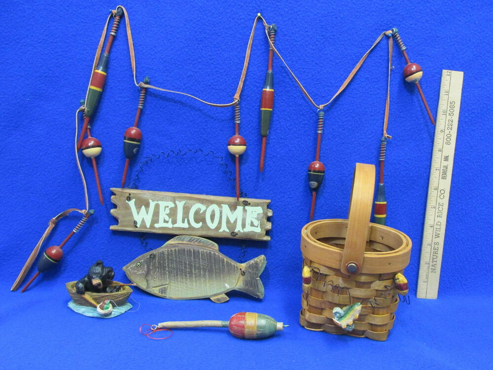 Fishing decor welcome plaque basket black bear boat for Fishing lure decor
